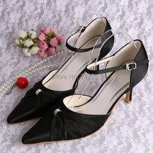 ผู้หญิงรองเท้าแหลมนิ้วเท้าสีดำซาตินจัดงานแต่งงานเจ้าสาวรองเท้ารองเท้าแตะ8เซนติเมตรส้นขนาด34 ~ 42