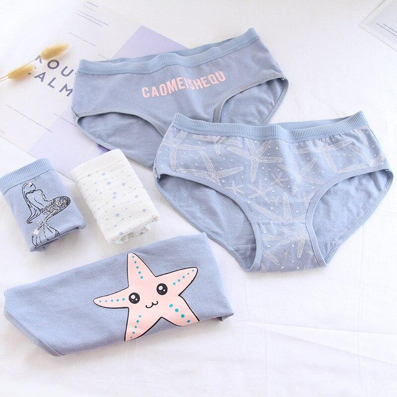 Nova 4pcs Adolescente Starfish Cuecas Jovem Cuecas Confortáveis Calcinhas de Algodão Azul Crianças Roupa Interior 3775