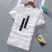 Summer New Men Casual Short Sleeves Embroidery Tiger T Shirts Cotton Black/White Streetwear T shirts