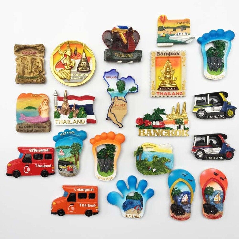 BABELEMI 1pc Resina Imã de geladeira 3D Koh Chang Lembranças Turísticas Phuket Tailândia Bangkok Chiang Mai Pattaya Imãs de Geladeira