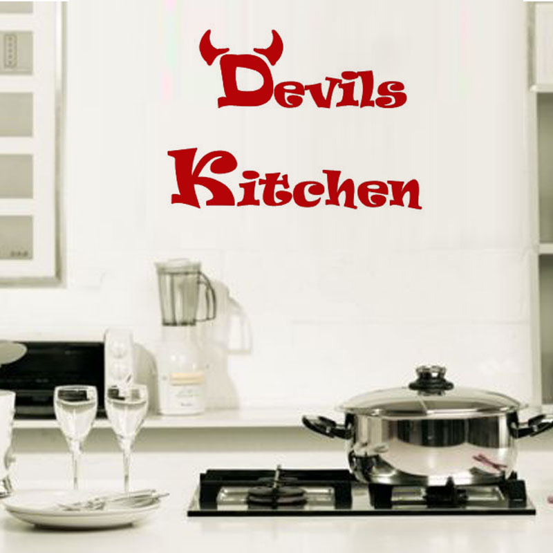 Cheap Simple Design Devils Kitchen Wall Decals Vinyl Removable Waterproof Home Decor DIY Creative Wall Sticker
