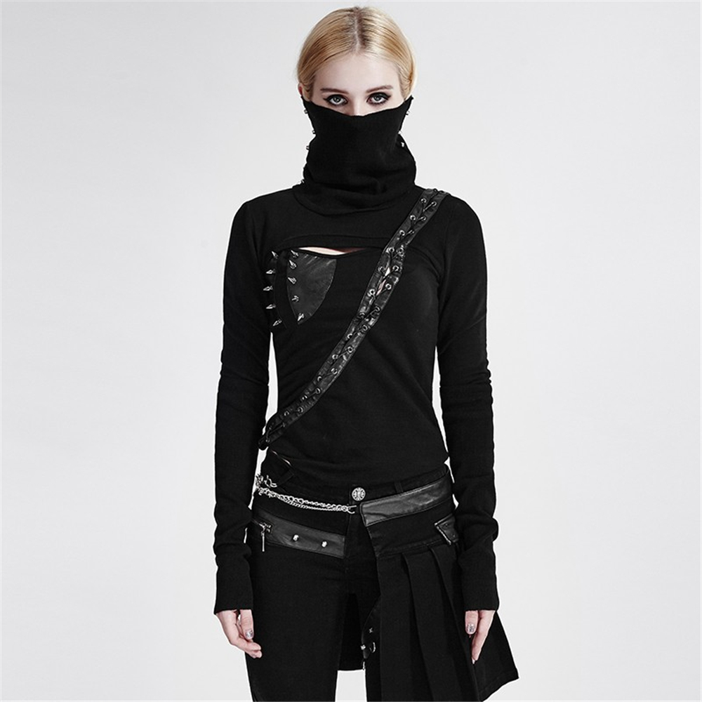 Punk High Neck Backless asymmetrische Stricken weibliche krieger T shirt Nieten pu leder schwarz Maske Stil Langarm T shirt Tops
