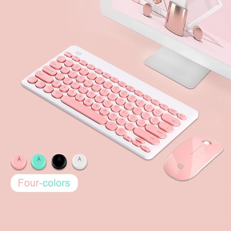 2,4g Usb Inalámbrico Gaming Teclado Ratón Combo Botón Redondo Teclado Ratón Silencioso Para Macbook Lenovo Dell Asus Hp Laptop La Computadora