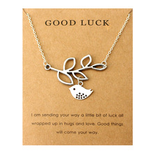 цены Leaf and Birds Good Luck Love Pendant Necklaces Best Friends Moon Heart Antique Silver Chain Necklace Mother's Day Women Gift