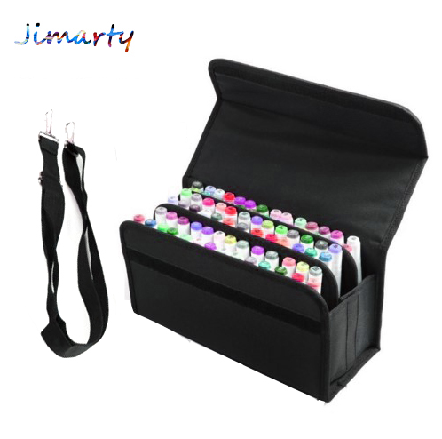 Multifunction Large Capacity Black Folding Marker Pen Canvas Pencil Case Pen Storage Bag Hold 80pcs Markers Pen case bag only