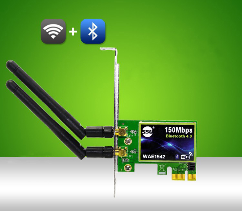 WiFi Bluetooth 4.0 Card to PCI-E Adapter with 3 External Antenna