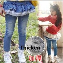 New enfant filles legging coton jeans dentelle manchette pantalon élastique taille filles pantalon chaud Denim Jeans hiver printemps enfants Pantalon
