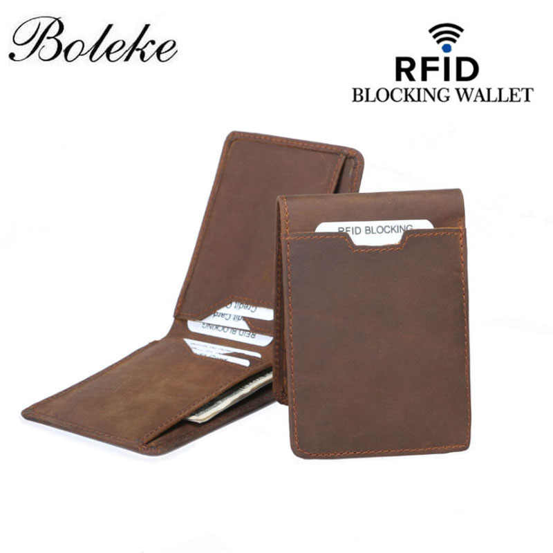 Rfid 100% Genuine Leather Money Clip Brand Wallet leather Id Credit Card Slots Clamp for Money Crazy Horse Leather Wallet FM110