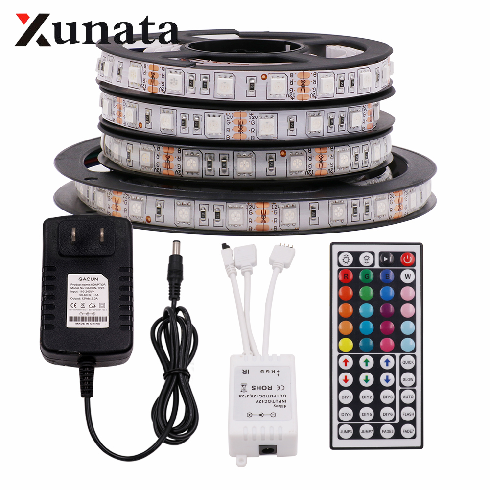 XUNATA 5050 RGB LED Strip Light 60Leds/m Ribbon Waterproof Flexible LED Lights US/EU/UK DC12V Controller Adapter Set 1m/2m/5m