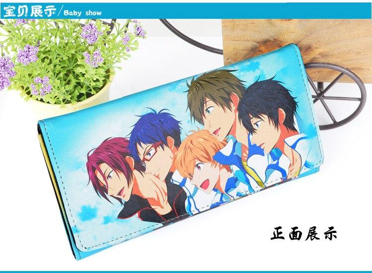 Anime Free!iwatobi Swim Club Long Style PU Wallet W/Haruka/Makoto/Nagisa/Matsuoka Rin/Ryugazaki