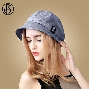 Image 3 - FS Fashion Cotton Sun Hat For Women Summer Outdoor Foldable Beach Hats Blue Pink Dark Gray Wide Brim Casual Visor Caps Femme