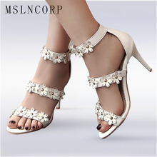 Size 34-48 Fashion Summer Sandals Women Open Toe sexy Flowers Shoes For Lady thin high heel stiletto ankle buckle strap Pumps недорого