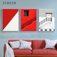 Scandinavian Style Red Abstract Canvas Painting Wall Art Posters And Prints Pictures for Living Room Decoration Home