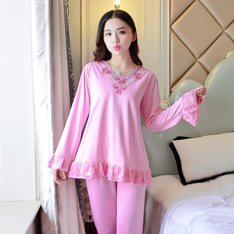 Young Girl Pajama Sets Spring Autumn Pajamas Set Women Embroidered Princess Style Pattern Pyjama Pijama Sleepwear