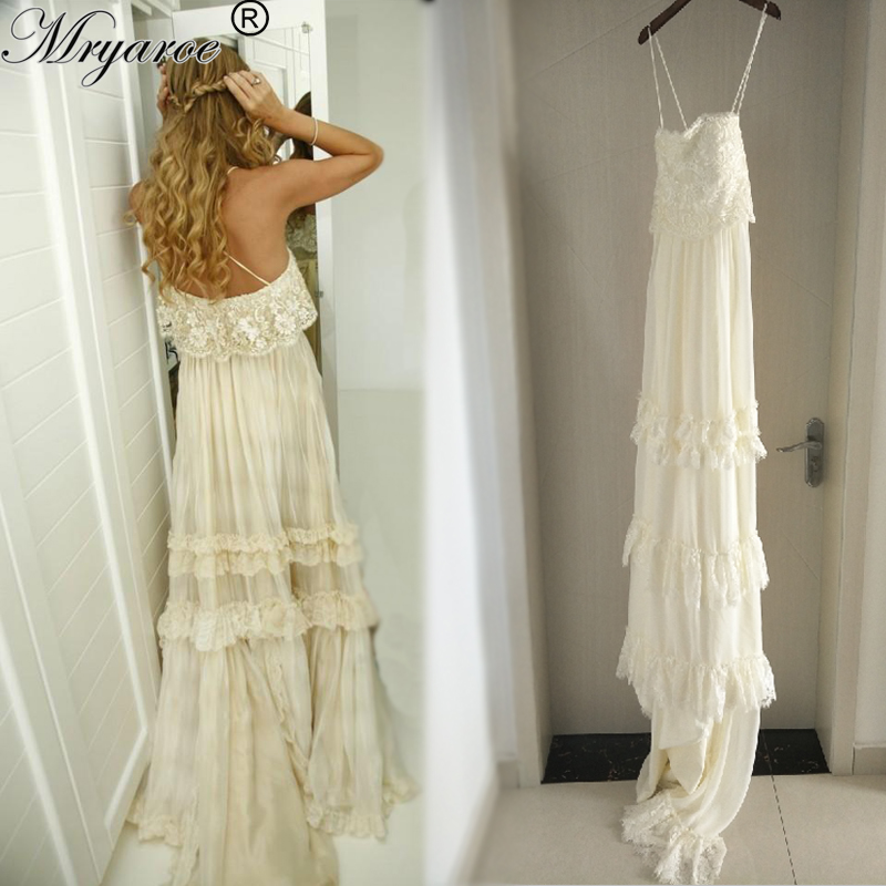 Mryarce vintage hippie style boho beach wedding dress sexy for Hippie vintage wedding dresses