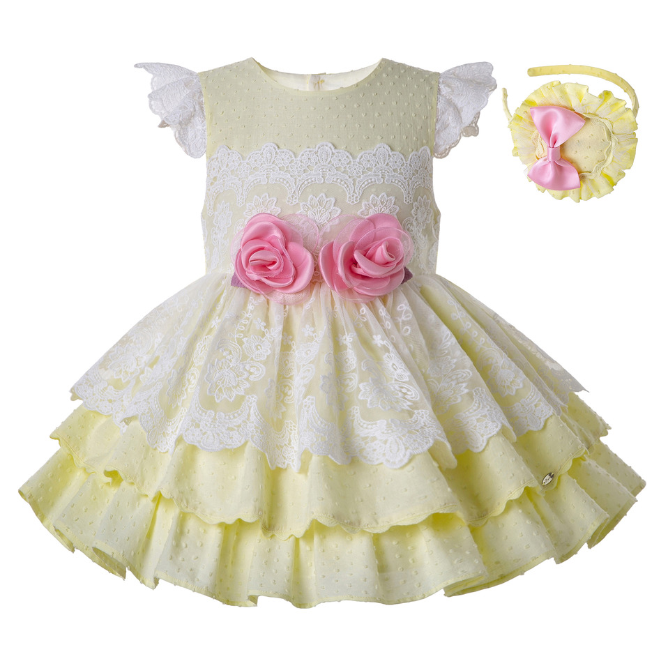 Pettigirl Light Yellow Girls Dresses With Lace And Fly Sleeve Girl summer Dress Boutique Kids Clothing
