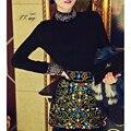 2015 Роскошный Стиль Black Diamonds Pattern С Длинным Рукавом Свитер Пуловер Мода Элегантный Трикотаж Тонкий Платья Для Женщин