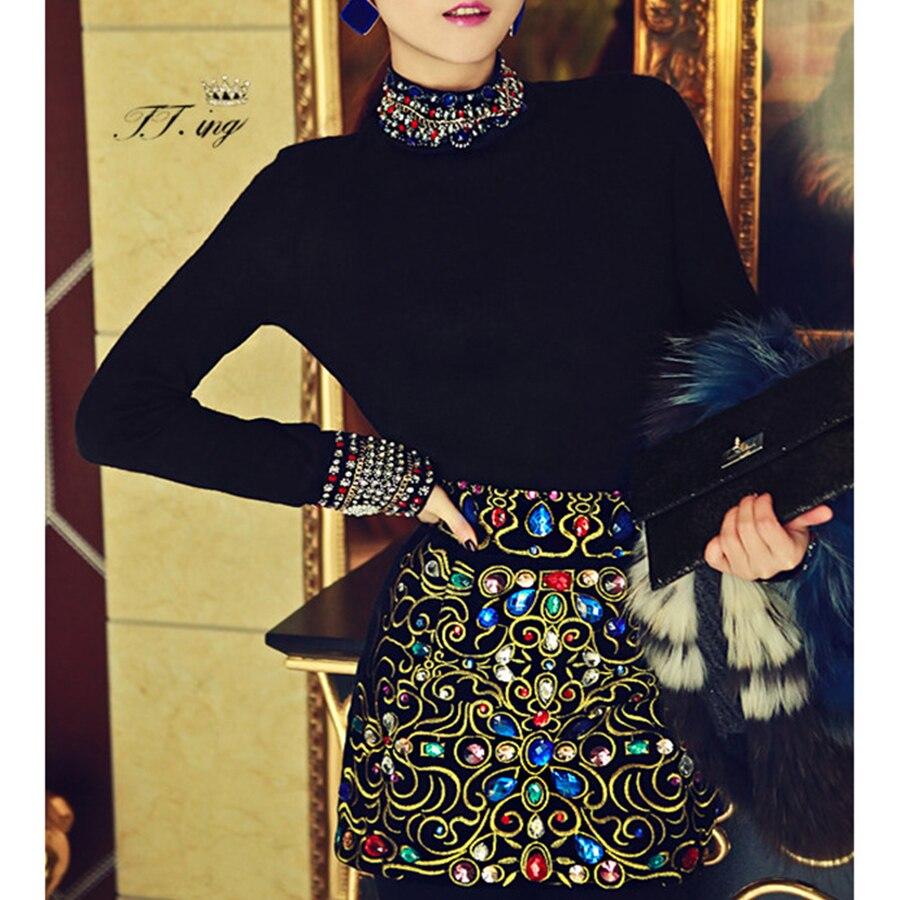 2019 Luxury Style Black Diamonds Pattern Long Sleeve -9345