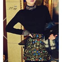 2019 Luxury Style Black Diamonds Pattern Long Sleeve Turtleneck Sweater Pullover