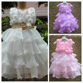 2017 Pearl Girls Flower Dresses Baby Girls Purple Princess Dress With Bow Chiffon Layered Kids Party Dresses Vestido Infantil