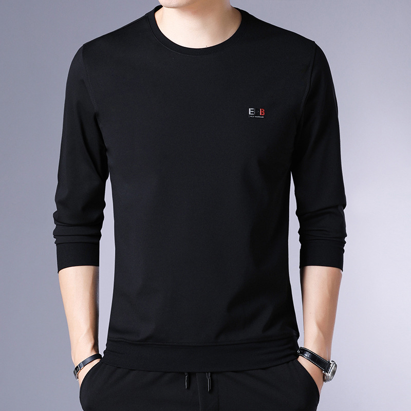 Youthful energetic brand spring autumn men 39 s long sleeved round neck black sweater youth casual bottoming shirt Slim t shirt men in T Shirts from Men 39 s Clothing