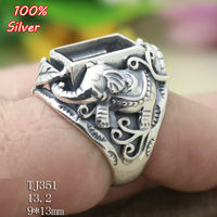 100 Sterling Silver 925 Elephant Jewelry 9x13mm Adjustable Ring Tray For Man Setting Square Stone Antique