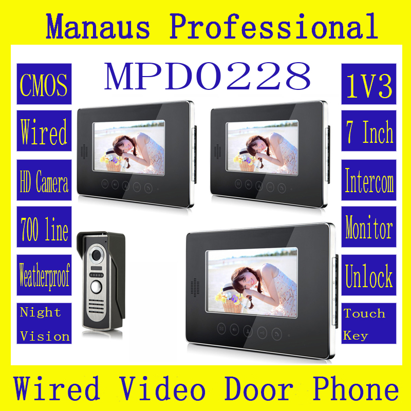 HighQuality 7 Inch Screen Keypad Display Video Intercom System D228b,New Wired Magnetic Lock One To Three Video Doorphone Device