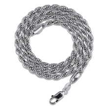 925 silver twist Rope chain sterling fashion jewelry men 3mm necklace For Men hiphop Jewelry wholesale