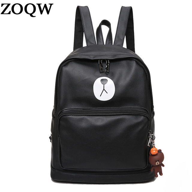 ZOQW Soft PU Leather Backpack Cute Brown Bear Bagpack Waterproof Backpack  Women Preppy Style School Bags Travel Backpacks WXF031 d00ee4cd3e
