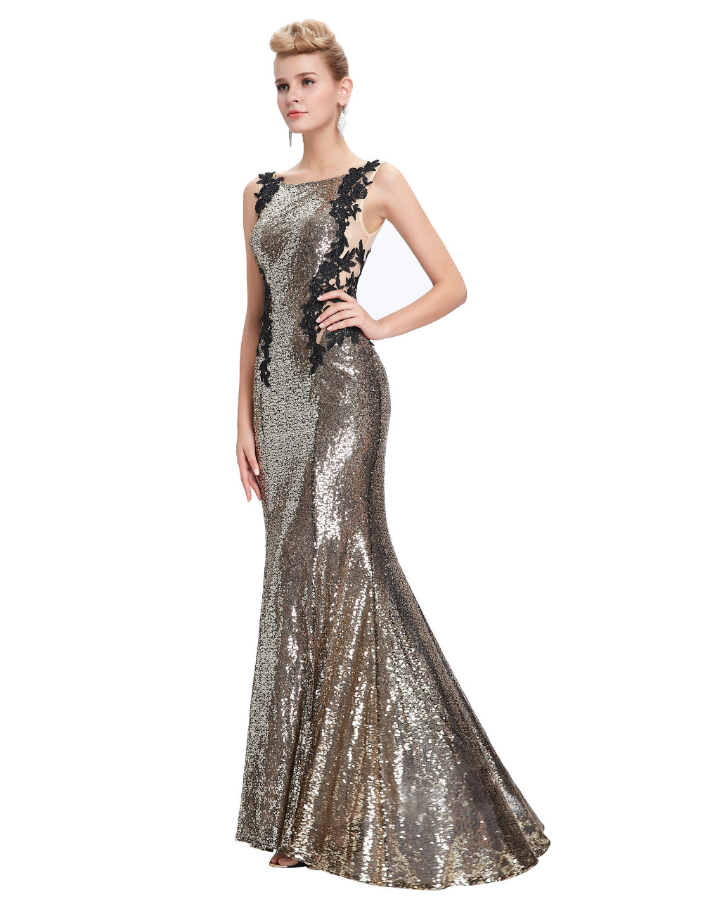 Kate Kasin Mermaid Bridesmaid Dresses Long Dress for Weddings Party Gown 2017 Grey Blue Black Sequin Bridesmaid Dress 0072 11
