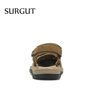Image 4 - SURGUT New Fashion Summer Beach Breathable Men Sandals Brand Genuine Leather Mens Sandals Man Casual Shoes Plus Size 38 47