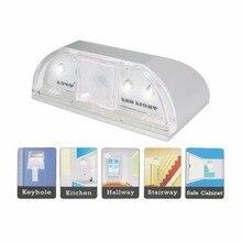 Lampe veilleuse intelligente automatique PIR serrure de porte lampe à Induction porte trou de serrure IR détecteur de mouvement détecteur de chaleur 4 LED lumière intelligente