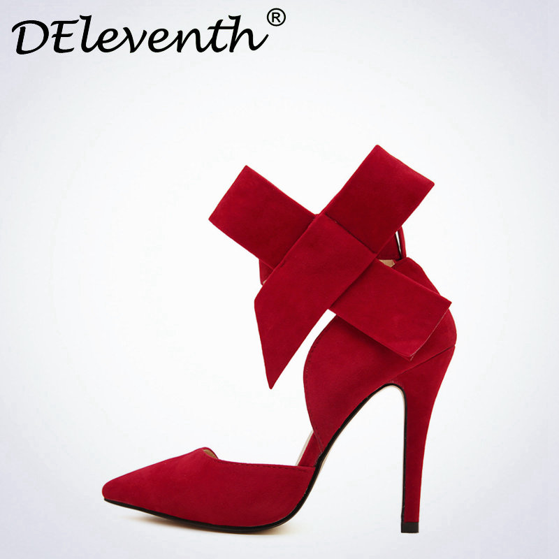 DEleventh Fashion Women Point Toe Bowknot Stiletto High Heels Sandals Shoes Woman Butterfly bow Wedding Shoes Red Pink Blue 43 new 2017 sexy point toe patent leahter high heels pumps shoes sandals pr1987 woman s red sandals heels shoes wedding shoes