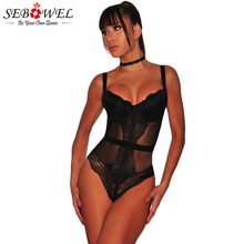 цены SEBOWEL Sexy Black Lace Bodysuit Women Sleeveless Black Mesh Jumpsuit Rompers Skinny Lace Playsuits Overalls macacao feminino