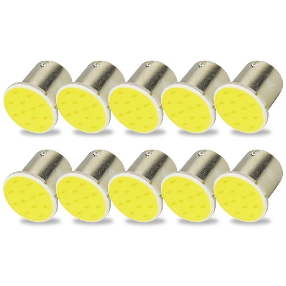 10pcs 1156 BA15S P21W 12 Chips LED COB Bulb For Auto Car Backup Tail Turn Signal Lights Lamp White 6000k