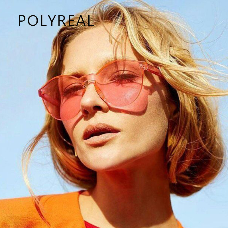 POLYREAL Ladies Cat Eye Rimless Sunglasses Women Vogue Cateye Integrated Clear Candy Color Sun Glasses For Female Shades UV400