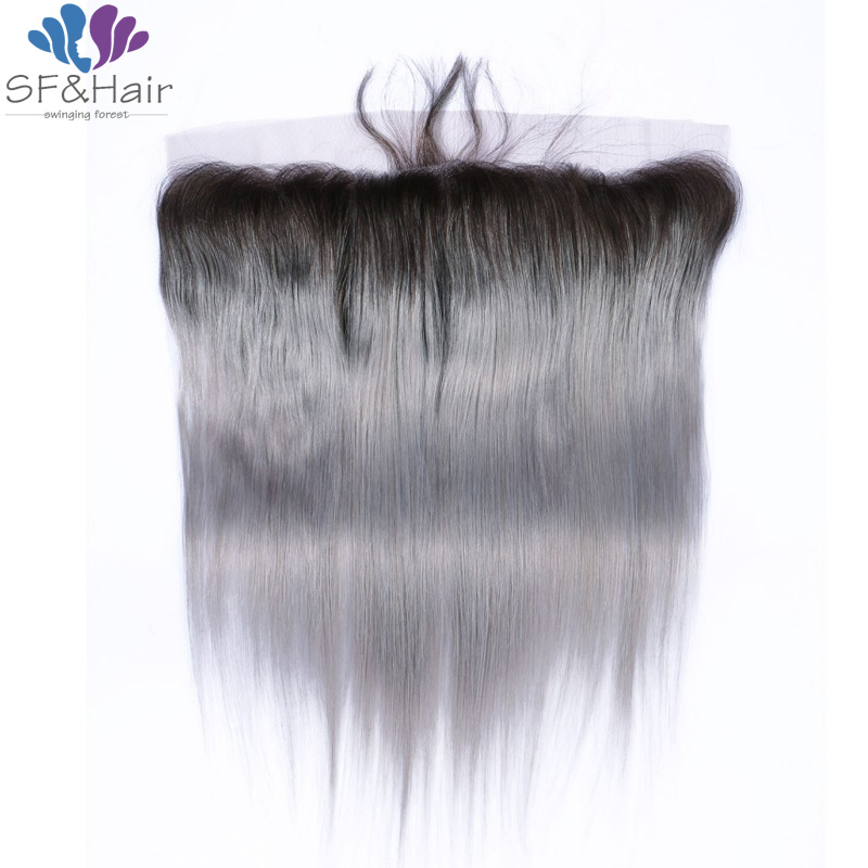 #1B/Grey Full Frontal Lace Closure 13x4 Ombre Brazilian Virgin Hair Lace Closure With Baby Hair Silver Grey Human Hair Frontals