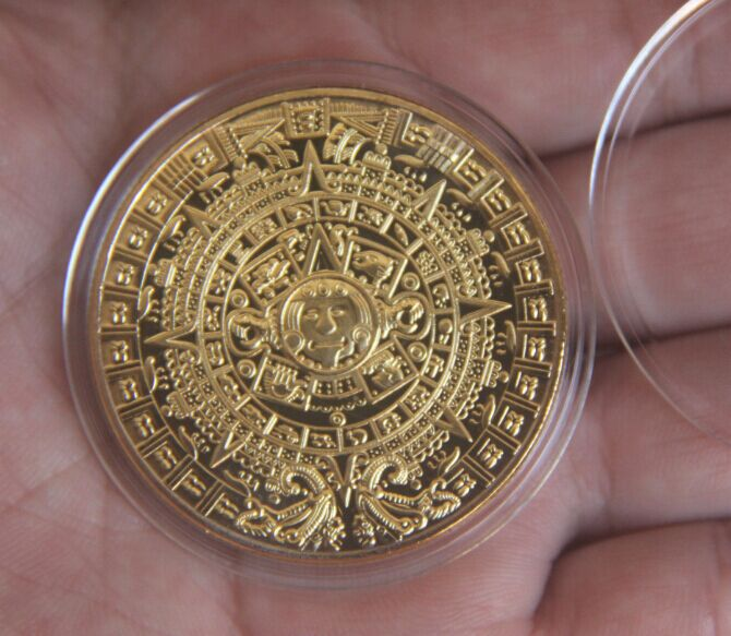 Mexico Aztec Gold Color Mexico Mayan Canlendar Plated Coin