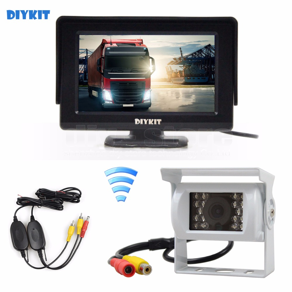 DIYKIT Wireless 4.3inch Car Rear View Monitor IR CCD Backup Camera Parking Assistance System for Trucks Caravans Bus Motorhome diykit wired 12v 24v dc 9 car monitor rear view kit backup waterproof ccd camera system kit for bus horse trailer motorhome