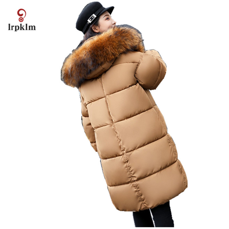 2017 New Female Big Fur Collar Hooded Long Winter Parkas Thick Women Cotton Padded Coat Ladies Warm Casul Outerwear Black PQ017 women winter jacket 2017 new fashion ladies long cotton coat thick warm parkas female outerwear hooded fur collar plus size 5xl