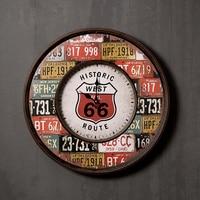18 inch American rustic retro iron handicraft wall clock vintage home decor luxury hanging clock creative mute quartz clock