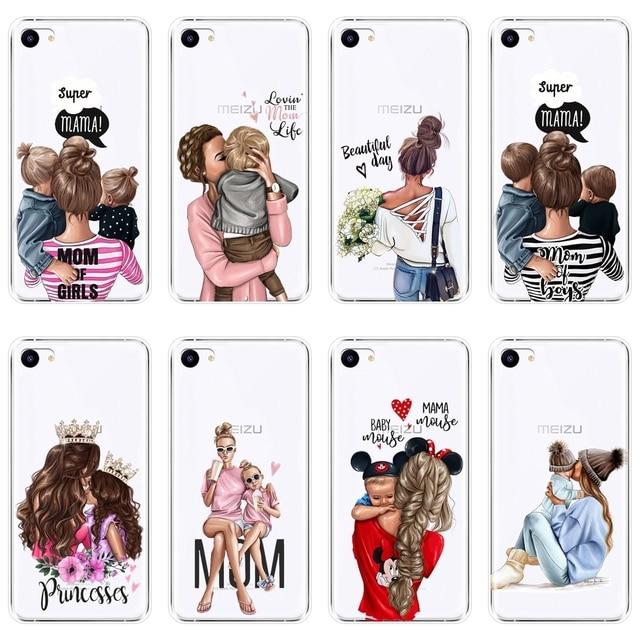 Case For Meizu U10 U20 Pro 6 7 Plus Baby Women Mom Girl Soft Silicone Back Cover For Meizu 15 Lite 16 Plus 16th 16x Phone Case