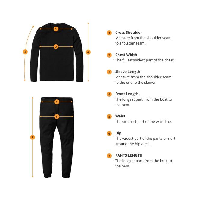Чтобы выбрать подходящий вам размер, измерьте свое тело следующим образом.