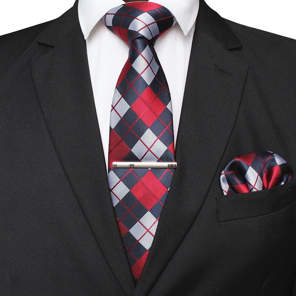 JEMYGINS Men Tie Necktie Pocket Square Party Wedding Fashion Striped Plaid 8cm Silk Woven Business Handkerchief Brooch Set