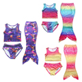 3 PCS Girls Lovely Swim Mermaid Tail Shorts Set for Swimming and Sandy Beach Clothing Age 4-8Y Mermaid Tail Swimsuit Swimming