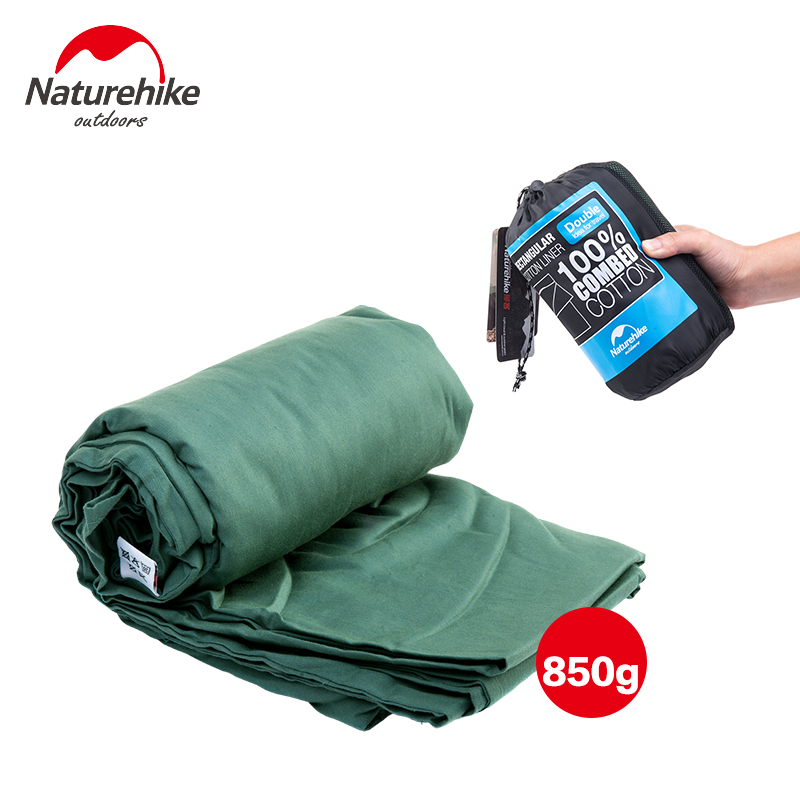 Naturehike Ultra-light Portable Double Sleeping Bag Liner 100% Cotton NH15S012-J naturehike portable double sleeping bag liner bags 2colors 2200x1600mm ultra light spring summer camping envelope lazy bag 850g
