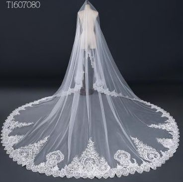 3 3 Meter White Ivory Cathedral Wedding Veils Long Lace Edge Bridal Veil Wedding Accessories Mantilla