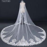 3*3 Meter White Ivory Cathedral Wedding Veils Long Lace Edge Bridal Veil Wedding Accessories Mantilla Wedding Veil EE7080