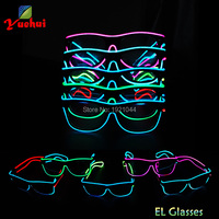 Wholesale 5pieces EL Product EL Wire Glowing Glasses with Sound activated Driver for Halloween Party Decoration