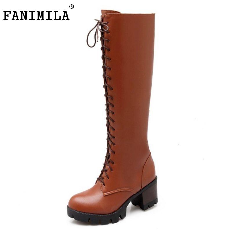 Caliente 34 Up Zapatos Knight marrón Larga Tamaño Sobre Calzado Encaje 43 Moda Rodilla La Botas Tacones Plataforma Mujeres negro Beige Cuadrado qxS48awa6